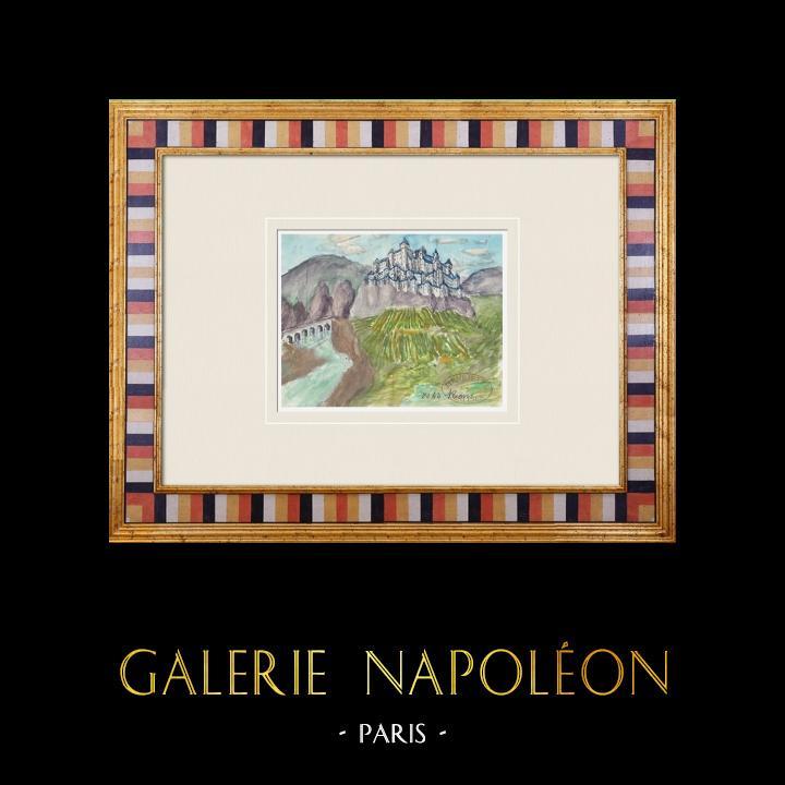 Gravures Anciennes & Dessins | Château imaginaire - Enceinte de Rions - Gironde - France (Henriette Quillier) | Aquarelle | 1960