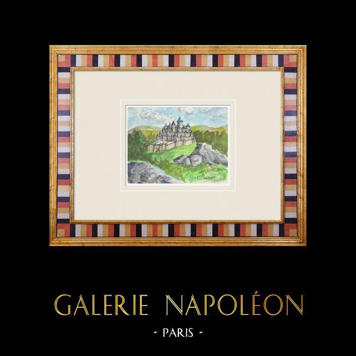 Gravures Anciennes & Dessins | Château imaginaire - Château de Rauzan - Gironde - France (Henriette Quillier) | Aquarelle | 1960