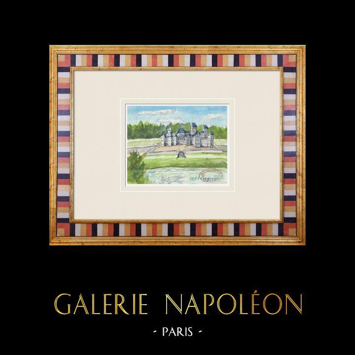 Gravures Anciennes & Dessins   Château imaginaire - Château de Malle à Preignac - Gironde - France (Henriette Quillier)   Aquarelle   1960
