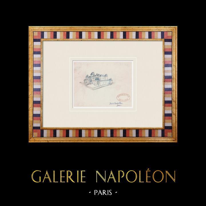 Gravures Anciennes & Dessins   Château imaginaire - Château de Cadillac - Gironde - France (Henriette Quillier)   Aquarelle   1960