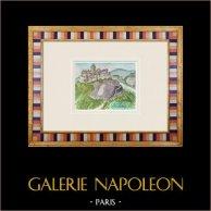 Château imaginaire - Château de Landiras - Gironde - France (Henriette Quillier) | Aquarelle originale sur papier peinte par Henriette Quillier (1897-?). Cachet de l'artiste. 1960
