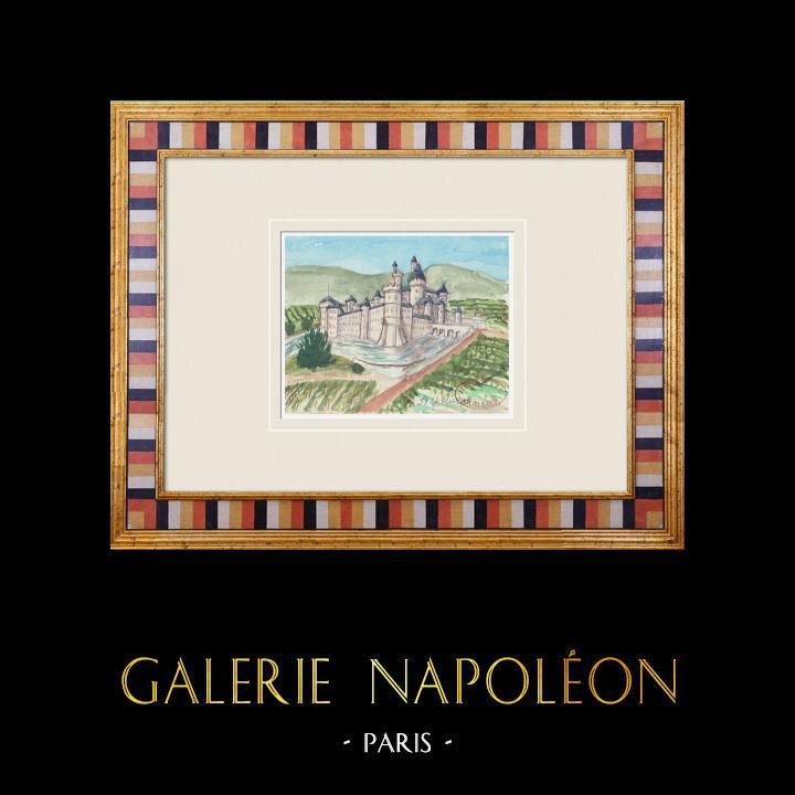Gravures Anciennes & Dessins | Château imaginaire - Auros - Château medieval - Gironde - France (Henriette Quillier) | Aquarelle | 1960