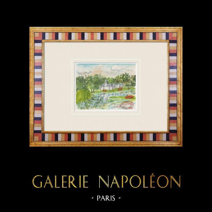 Gravures Anciennes & Dessins | Château imaginaire - Château du Vivier - Seine-et-Marne - France (Henriette Quillier) | Aquarelle | 1960