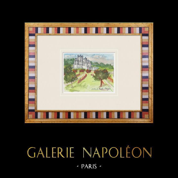 Gravures Anciennes & Dessins | Château imaginaire - Château de La Motte Nangis - Seine-et-Marne - France (Henriette Quillier) | Aquarelle | 1960