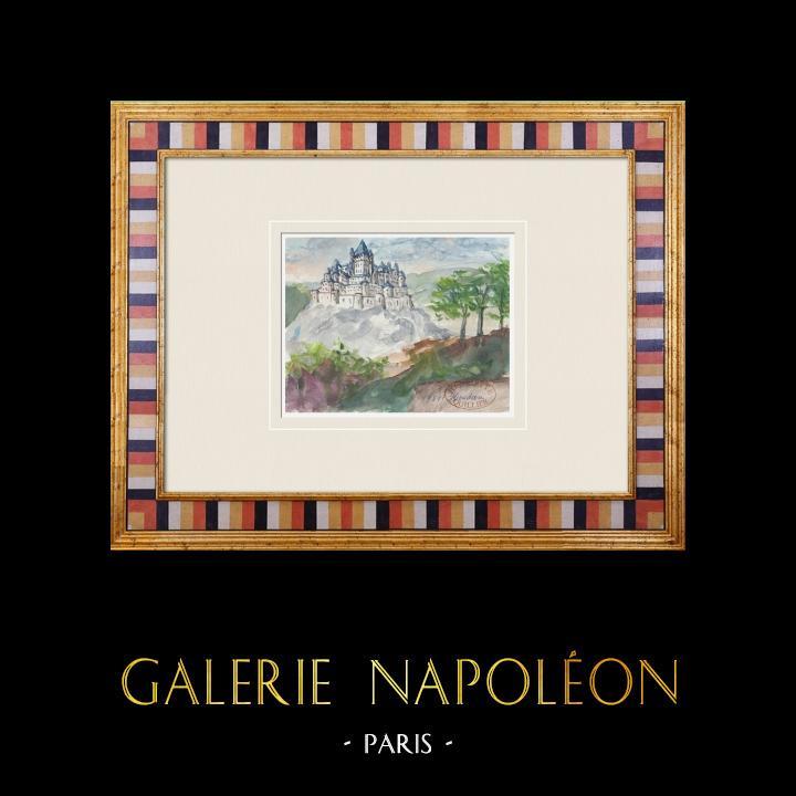 Gravures Anciennes & Dessins | Château imaginaire - Houdan - Donjon - Ile de France - France (Henriette Quillier) | Aquarelle | 1960