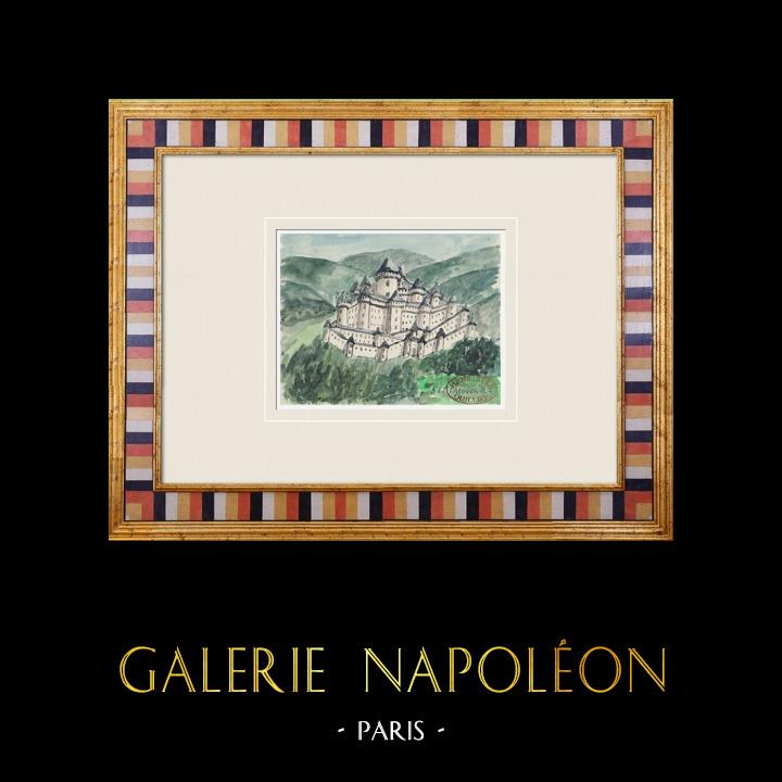 Gravures Anciennes & Dessins   Château imaginaire - Chevreuse - Ile de France - France (Henriette Quillier)   Aquarelle   1960