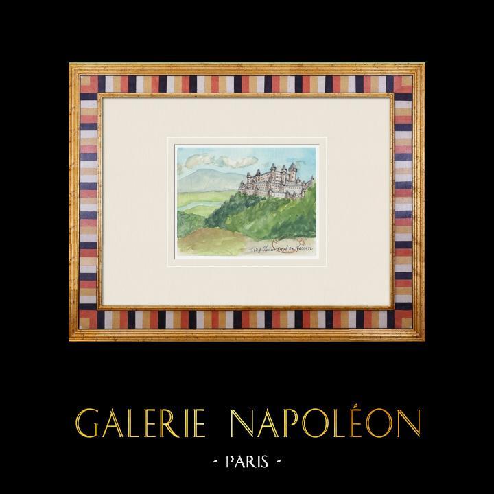Gravures Anciennes & Dessins | Château imaginaire - Château de Bertichères - Chaumont-en-Vexin - Oise (Henriette Quillier) | Aquarelle | 1960