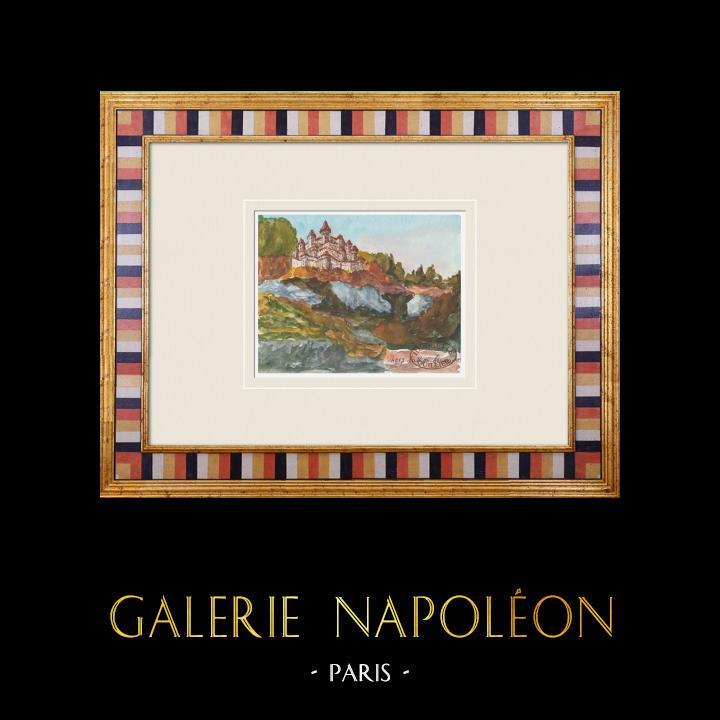 Gravures Anciennes & Dessins | Château imaginaire - La Roquebrussanne - Var - France (Henriette Quillier) | Aquarelle | 1960