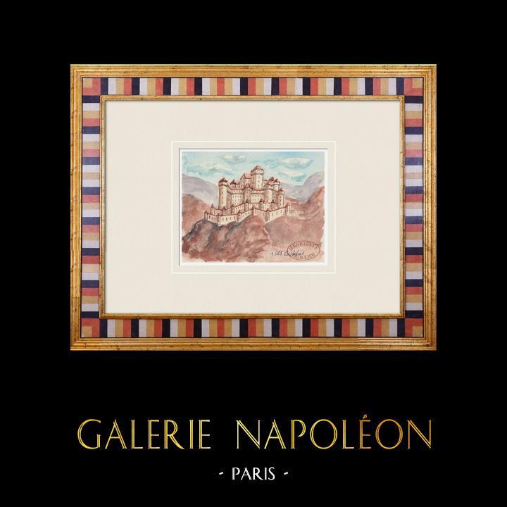 Gravures Anciennes & Dessins   Château imaginaire - Château du Castellas - Vaucluse - France (Henriette Quillier)   Aquarelle   1960