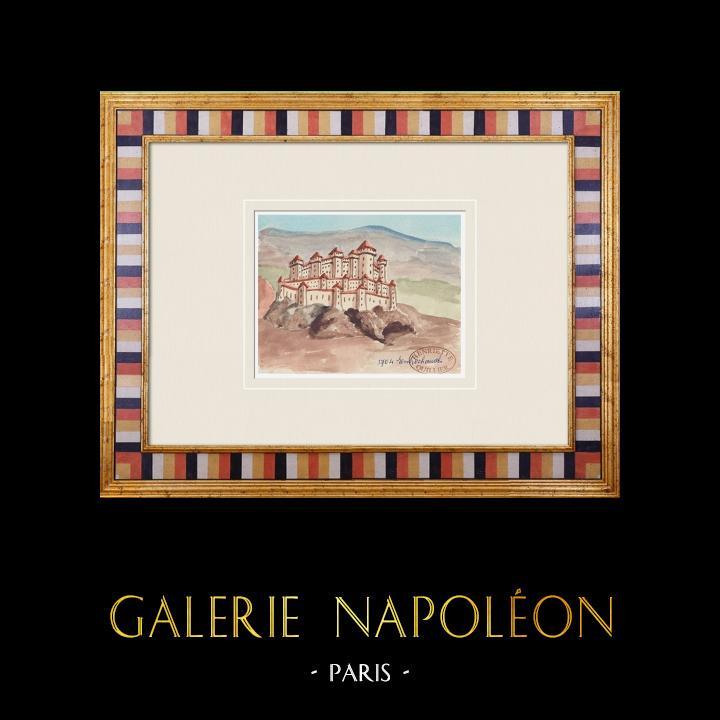 Gravures Anciennes & Dessins | Château imaginaire - Château d'Entrechaux - Vaucluse - France (Henriette Quillier) | Aquarelle | 1960