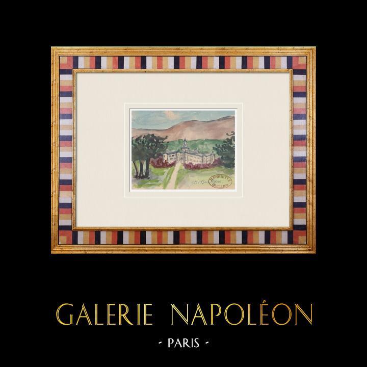 Gravures Anciennes & Dessins | Château imaginaire - Bon Repos - Avignon - Vaucluse (Henriette Quillier) | Aquarelle | 1960