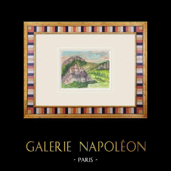 Gravures Anciennes & Dessins | Château imaginaire - Pernes-les-Fontaines - Vaucluse - France (Henriette Quillier) | Aquarelle | 1960