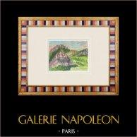 Imaginary Castle - Pernes-les-Fontaines - Vaucluse - France (Henriette Quillier) | Original watercolor painting on paper paint by Henriette Quillier (1897-?). Stamp of the artist. 1960