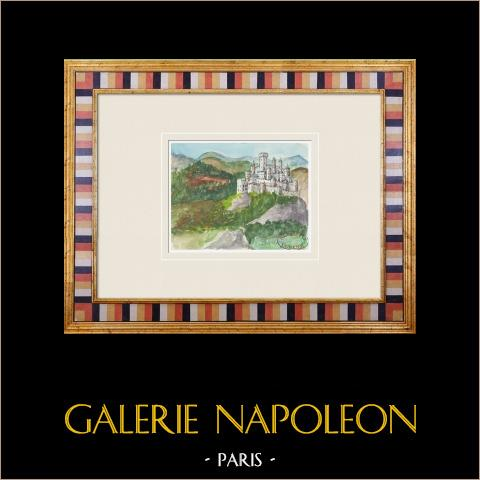 Imaginärt slott - Cléry-sur-Somme - Picardie - Frankrike (Henriette Quillier) | Original akvarell på pappers måla av Henriette Quillier (1897-?). Konstnärens stämpel. 1960