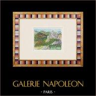 Château imaginaire - Cléry-sur-Somme - Picardie - France (Henriette Quillier) | Aquarelle originale sur papier peinte par Henriette Quillier (1897-?). Cachet de l'artiste. 1960