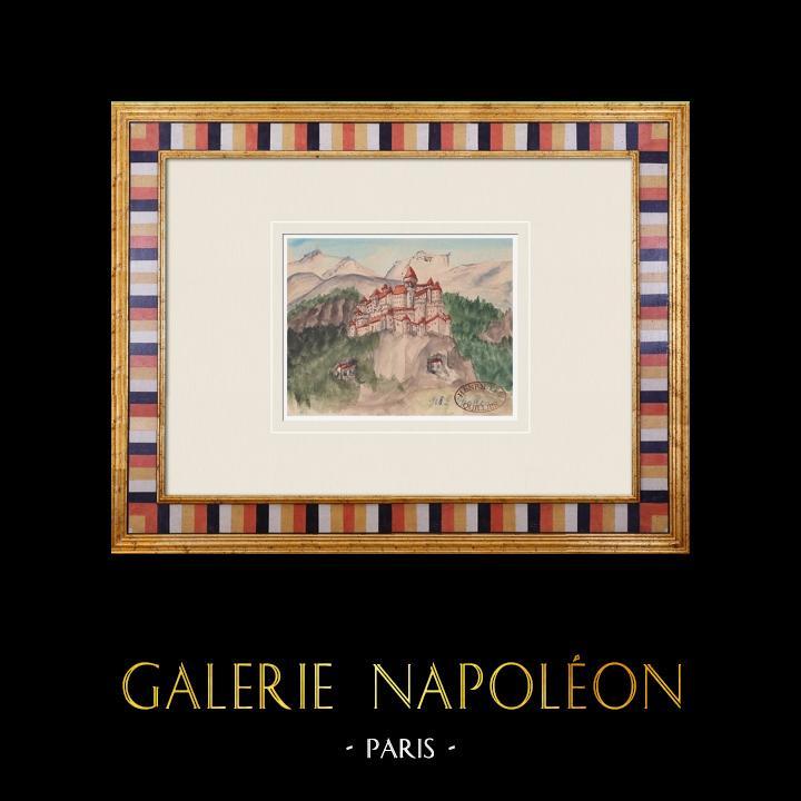 Gravures Anciennes & Dessins | Château imaginaire - Château de Thouzon - Vaucluse - France (Henriette Quillier) | Aquarelle | 1960