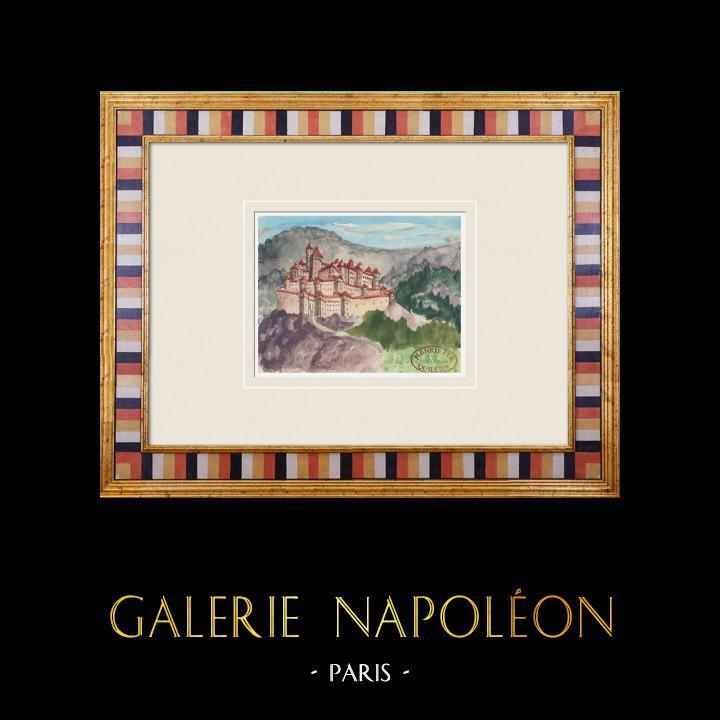Gravures Anciennes & Dessins | Château imaginaire - Monteux - Tour Clémentine - Vaucluse - France (Henriette Quillier) | Aquarelle | 1960