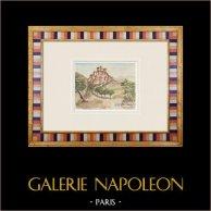 Castelo imaginário - Saint-Martin-de-Castillon - Vaucluse - França (Henriette Quillier) | Aguarela original sobre papel pintada por Henriette Quillier (1897-?). Selo do artista. 1960