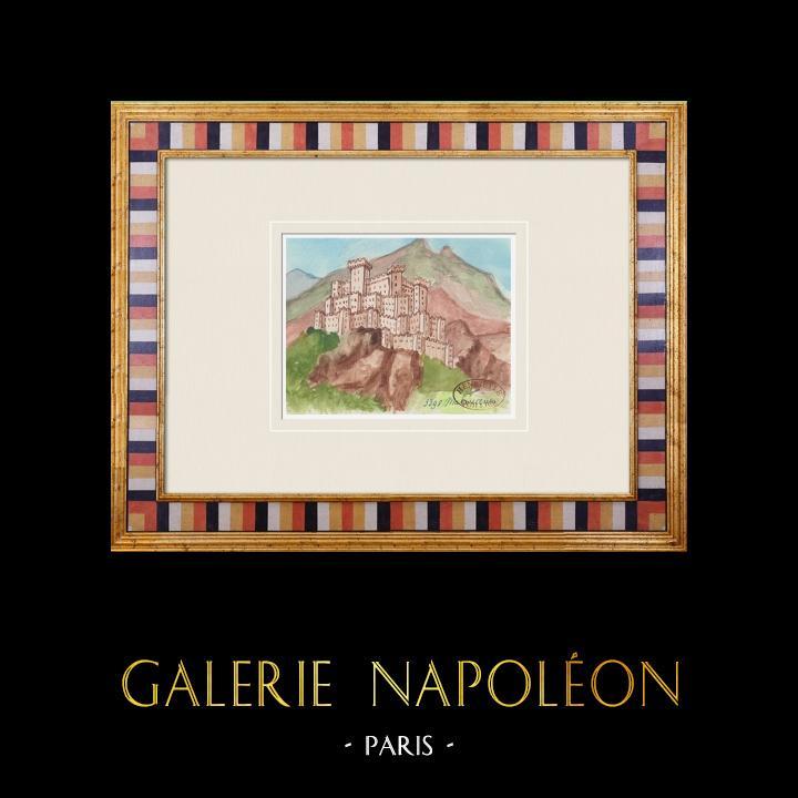 Gravures Anciennes & Dessins | Château imaginaire - Malaucène - Vaucluse - France (Henriette Quillier) | Aquarelle | 1960