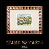 Imaginary Castle - Châteauneuf-de-Gadagne - Vaucluse - France (Henriette Quillier) | Original watercolor painting on paper paint by Henriette Quillier (1897-?). Stamp of the artist. 1960