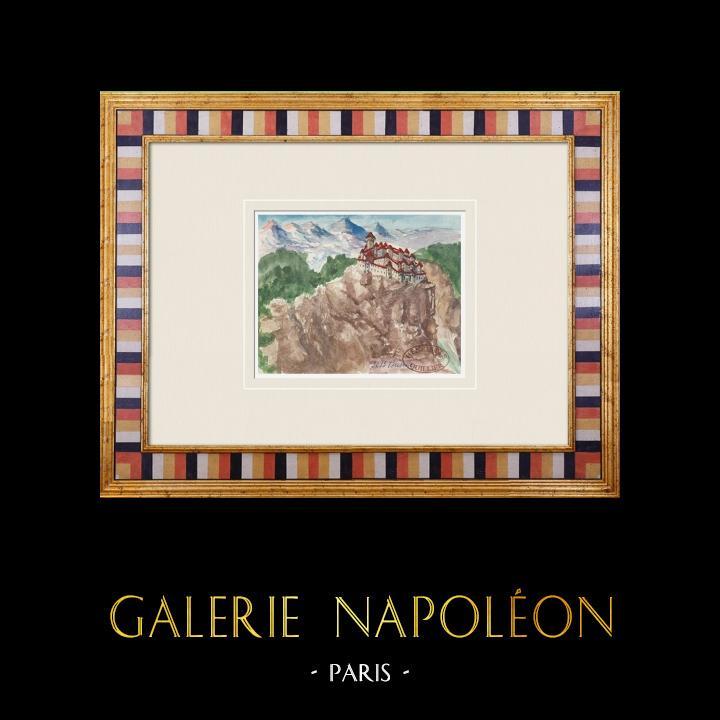 Gravures Anciennes & Dessins | Château imaginaire - Buoux - Vaucluse - France (Henriette Quillier) | Aquarelle | 1960
