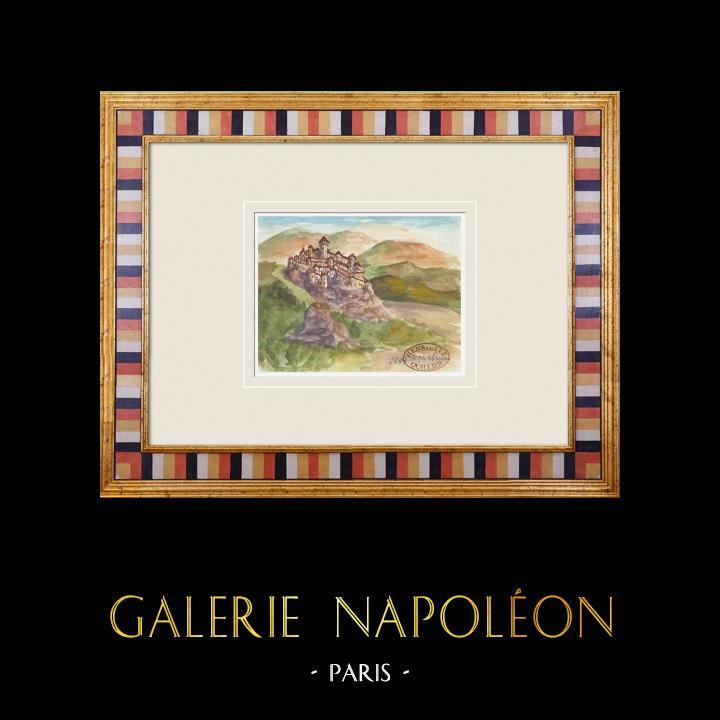 Gravures Anciennes & Dessins | Château imaginaire - Aiguebrun - Sivergues - Vaucluse - France (Henriette Quillier) | Aquarelle | 1960
