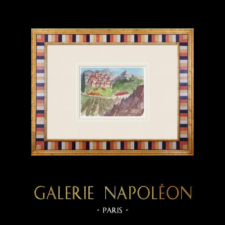 Gravures Anciennes & Dessins   Château imaginaire - Saumane-de-Vaucluse - Vaucluse - France (Henriette Quillier)   Aquarelle   1960