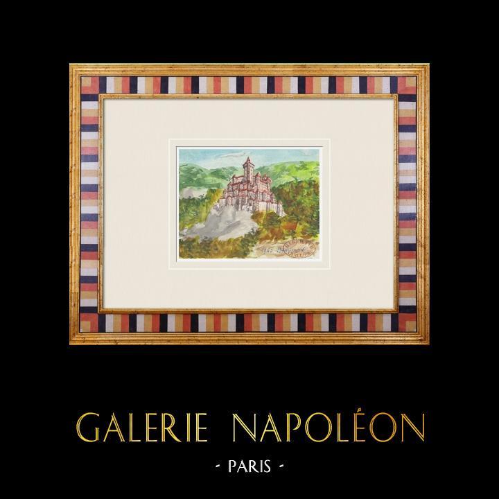 Gravures Anciennes & Dessins | Château imaginaire - Beaumont-du-Ventoux - Vaucluse - France (Henriette Quillier) | Aquarelle | 1960