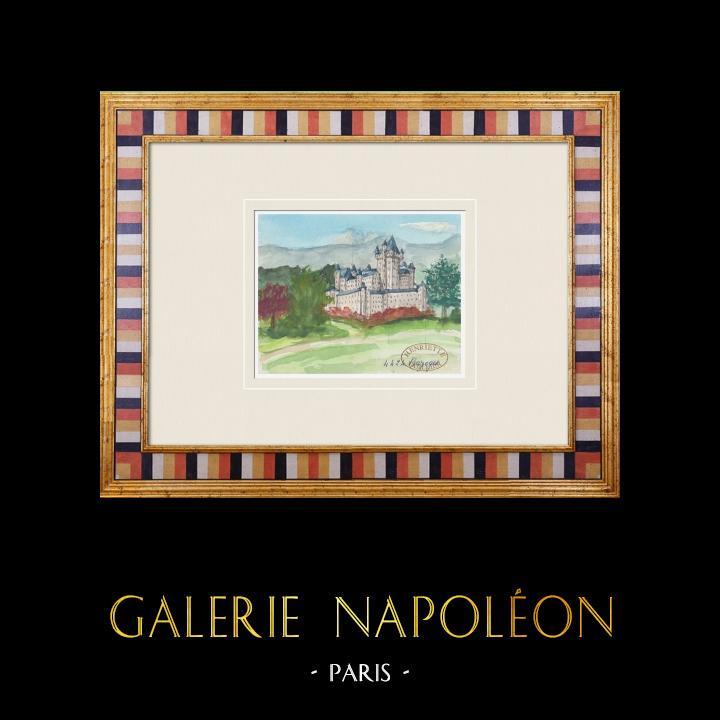 Gravures Anciennes & Dessins   Château imaginaire - Bazoges-en-Pareds - Vendée - France (Henriette Quillier)   Aquarelle   1960