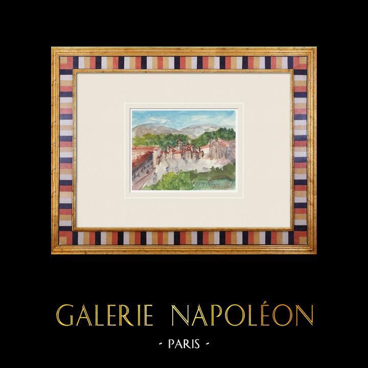 Gravures Anciennes & Dessins   Château imaginaire - Pertuis - Vaucluse - France (Henriette Quillier)   Aquarelle   1960