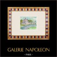 Castelo imaginário - Apremont - Vendéia - França (Henriette Quillier) | Aguarela original sobre papel pintada por Henriette Quillier (1897-?). Selo do artista. 1960
