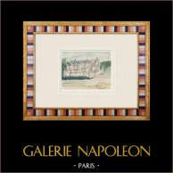 Castelo imaginário - Les Essarts - Vendéia - França (Henriette Quillier) | Aguarela original sobre papel pintada por Henriette Quillier (1897-?). Selo do artista. 1960