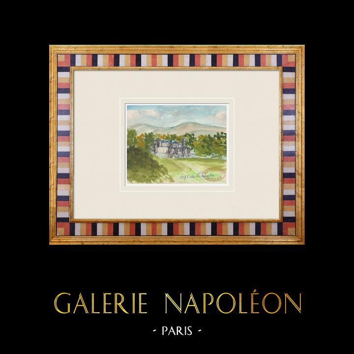 Gravures Anciennes & Dessins | Château imaginaire - Château de La Pénissière - Vendée - France (Henriette Quillier) | Aquarelle | 1960