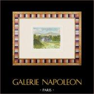 Castelo imaginário - La Pénissière - Vendéia - França (Henriette Quillier) | Aguarela original sobre papel pintada por Henriette Quillier (1897-?). Selo do artista. 1960