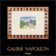 Château imaginaire - Château de La Flocellière - Vendée - France (Henriette Quillier) | Aquarelle originale sur papier peinte par Henriette Quillier (1897-?). Cachet de l'artiste. 1960