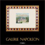 Château imaginaire - Château de La Flocellière - Vendée - France (Henriette Quillier)   Aquarelle originale sur papier peinte par Henriette Quillier (1897-?). Cachet de l'artiste. 1960