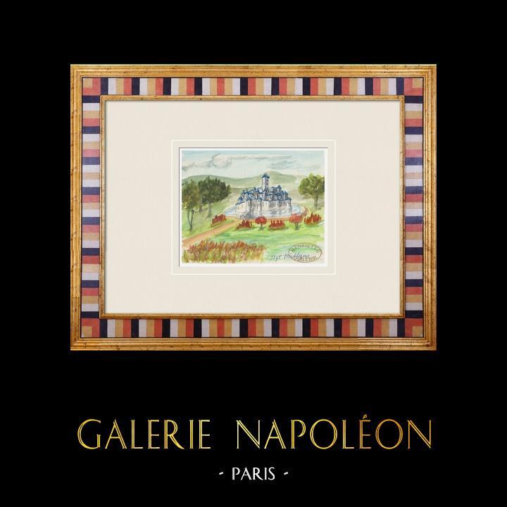 Gravures Anciennes & Dessins   Château imaginaire - Maillezais - Vendée - France (Henriette Quillier)   Aquarelle   1960