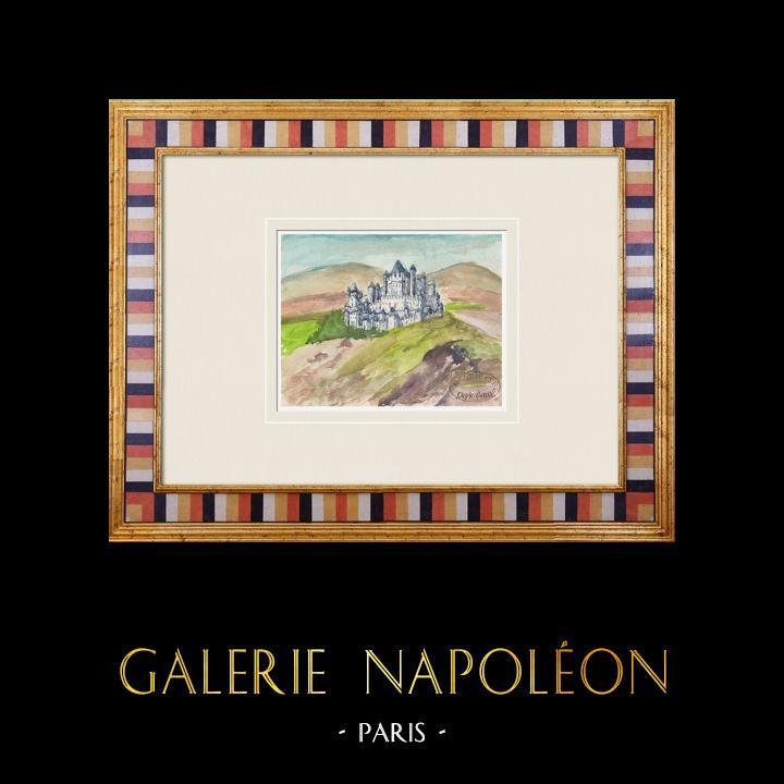 Gravures Anciennes & Dessins | Château imaginaire - Nieul-sur-l'Autise - Vendée - France (Henriette Quillier) | Aquarelle | 1960