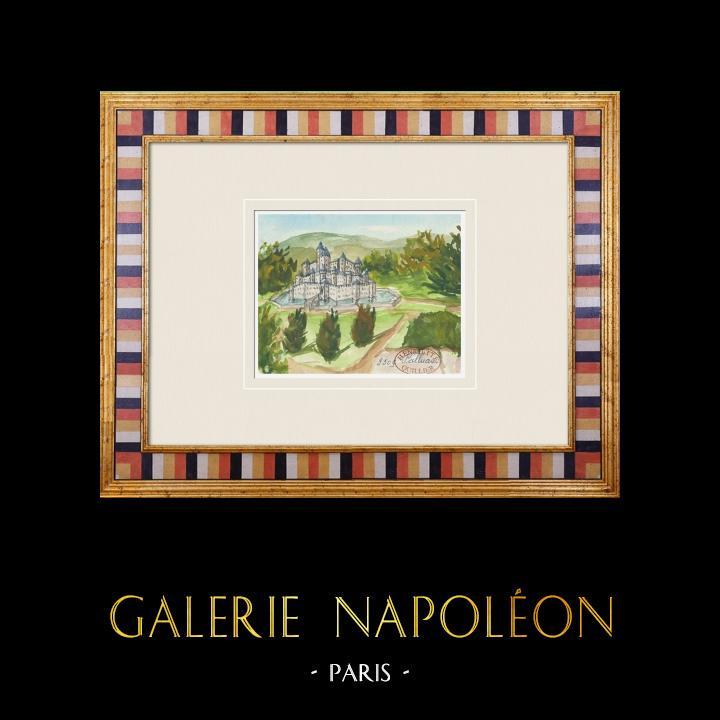 Gravures Anciennes & Dessins   Château imaginaire - Château de Palluau - Vendée - France (Henriette Quillier)   Aquarelle   1960