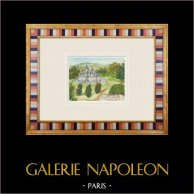 Imaginärt slott - Palluau - Vendée - Frankrike (Henriette Quillier) | Original akvarell på pappers måla av Henriette Quillier (1897-?). Konstnärens stämpel. 1960