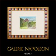 Château imaginaire - Manoir de Puy-Papin à Pouzauges - Vendée - France (Henriette Quillier) | Aquarelle originale sur papier peinte par Henriette Quillier (1897-?). Cachet de l'artiste. 1960