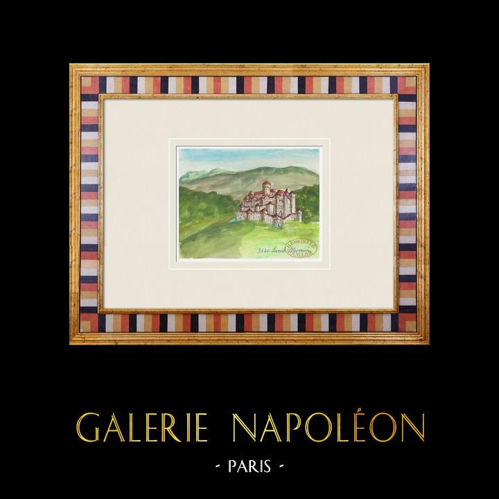 Gravures Anciennes & Dessins | Château imaginaire - Saint-Mesmin - Vendée - France (Henriette Quillier) | Aquarelle | 1960