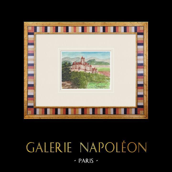 Gravures Anciennes & Dessins | Château imaginaire - Puy-Greffier - Vendée - France (Henriette Quillier) | Aquarelle | 1960
