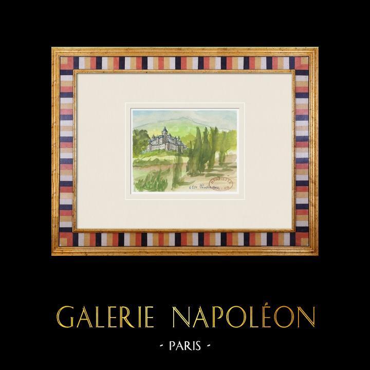 Gravures Anciennes & Dessins | Château imaginaire - Vendrennes - Vendée - France (Henriette Quillier) | Aquarelle | 1960
