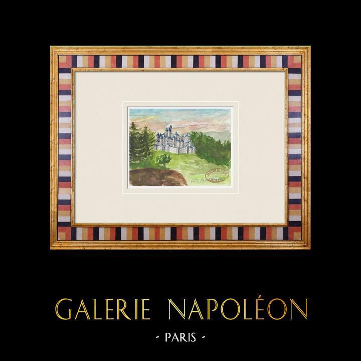 Gravures Anciennes & Dessins | Château imaginaire - Saint-Martin-des-Noyers - Vendée - France (Henriette Quillier) | Aquarelle | 1960