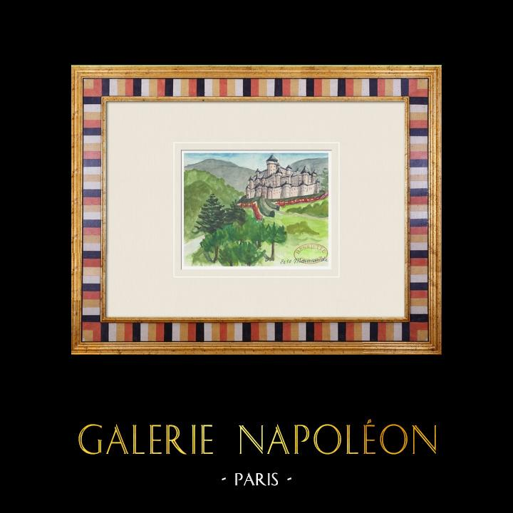 Gravures Anciennes & Dessins   Château imaginaire - Château de Marmande - Vienne - France (Henriette Quillier)   Aquarelle   1960