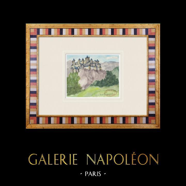 Gravures Anciennes & Dessins | Château imaginaire - Château du Bois-Gourmand - Vienne - France (Henriette Quillier) | Aquarelle | 1960
