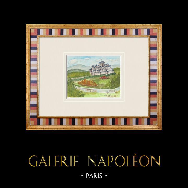 Antique Prints & Drawings | Imaginary Castle - Civray - Vienne - France (Henriette Quillier) | Watercolor painting | 1960