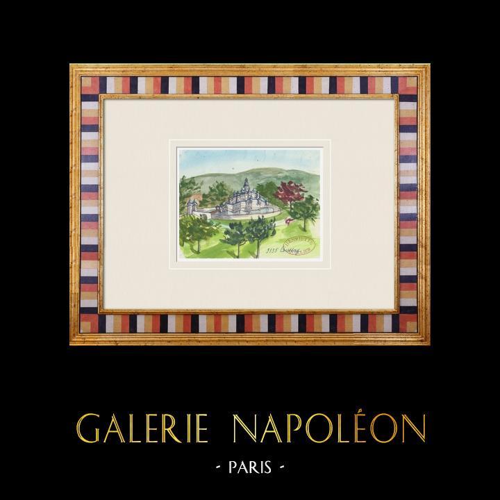 Antique Prints & Drawings   Imaginary Castle - Coussay - Vienne - France (Henriette Quillier)   Watercolor painting   1960