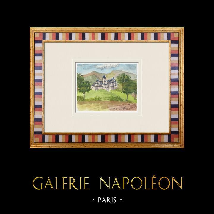 Gravures Anciennes & Dessins | Château imaginaire - Château du Fou - Vienne - France (Henriette Quillier) | Aquarelle | 1960